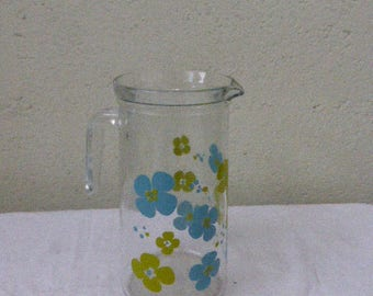 Vintage 1970 Green and Blue Glass Jug