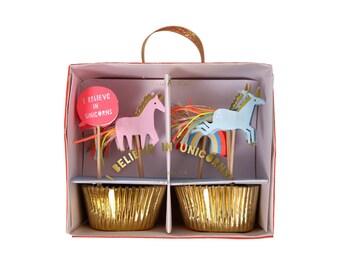 Unicorn Cupcake Kit by Meri Meri, Baking and Candy Making, Cake Decorating, Baking Liners, Toppers & Picks
