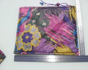Set of 2 packages of office / school/storage Tablet purple cotton close with zips with pull ties and beads