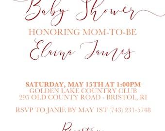 Sweet Baby Girl Maroon Watercolor Baby Shower Decor Bundle. Digital Download