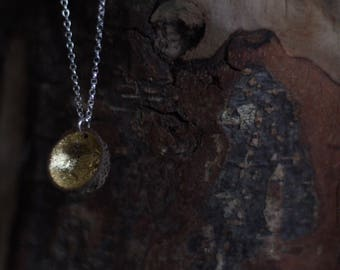 Real woodland acorn cap pendant with gold leaf and sterling silver chain