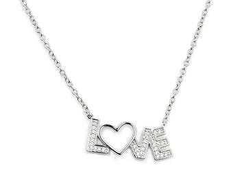 Love Monogram Necklace - Heart Sterling Silver Necklace Jewelry , Z895 Gift Pendant  Chain