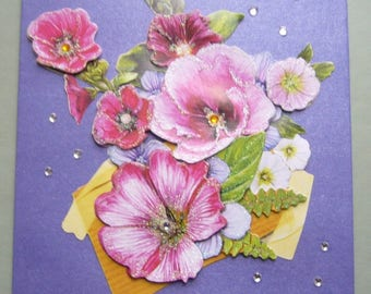 Double card 3 D made handmade purple metallic anemones - matching envelope