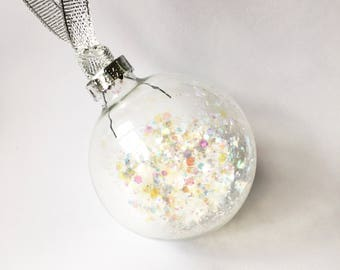 Iridescent Glitter Filled Glass Christmas Bauble 6cm
