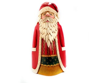 Hand Carved Wooden Santa Heirloom Collecible