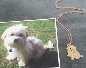 Hund Anhänger Halskette... Benutzerdefinierte Pet Portrait Brass / 14kt gold gefüllt maltesischen Kontur Memorial Schmuck Geburtstag Tag Keepsake