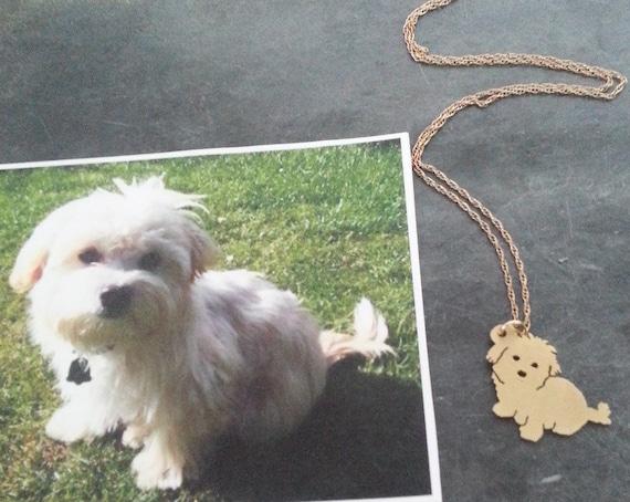 Dog pendant necklace custom pet portrait brass 14kt gold mozeypictures Gallery