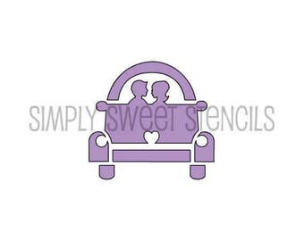 Just Married Car Stencil