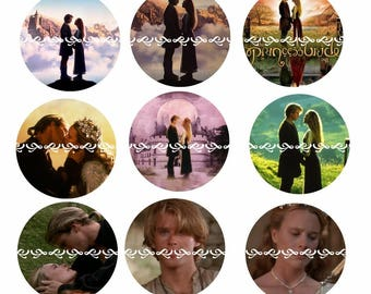 Princess Bride Magnets or Pinback Buttons, One Inch,  5 or 12 ct sets available, proceeds benefiting non profit cat sanctuary