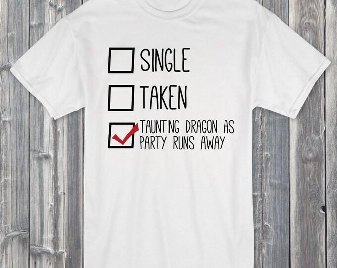 Single Taken Taunting Dragon as Party Runs Away 100% Soft Cotton Gamer Shirt