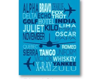 Phonetic Alphabet Poster, Airplane Nursery Art, Airplane Wall Art, Phonetic Alphabet Canvas, Phonetic Alphabet Gift, Aviation Wall Art
