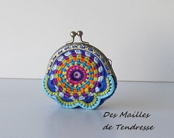 Multicolored crocheted purse