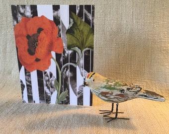 Decoupage print card, all-occasion card, handmade card,  blank card,  thank you card, happy birthday card, invitation, custom announcement