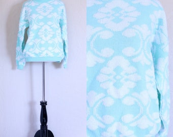Vtg Grandma Sweater Pastel Sweater Mint Green Sweater Slouchy Sweater Geometric Sweater Novelty Sweater Dolman Sleeves Oversized Hipster