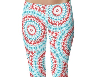 Gypsy Leggings Yoga Pants, Printed Yoga Tights for Women, Turquoise and Red Boho Mandala Art