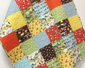 Farm Boy Baby Quilt-Country Nursery Crib Bedding-Farm Animals-Patchwork Handmade-Tractor-Cows-Pigs-check-Gender Neutral