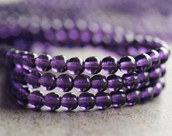 Tanzanite 4mm Czech Glass Druk Bead : 100 pc 4mm Purple Czech Round Bead