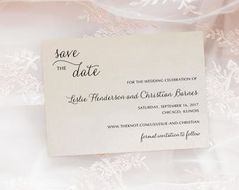 Elegant Script Wedding Save The Date Engagement Announcement Printed Cards with Envelopes - Fairytale Suite