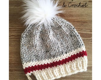 READY to SHIP, Knit Sock Monkey hat, inspired, with Faux Fur PomPom, adult size