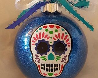 Sugar Skull Ornament, Gothic Christmas, Sugar Skull Christmas Ornament, Gothic Decor, Day Of The Dead, Feliz Navidad, Calavera