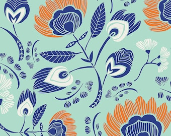 Flora's Oasis Naranja - Tule collection by Leah Duncan for Art Gallery Fabrics