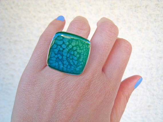 Blue ombré resin ring, multicolor psychedelic glass ring, turquoise green and blue ring, big chunky square ring, color block beach jewelry