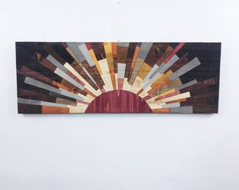 """wood wall art - """"Edge Of The Day"""" 42x14 wooden wall art, wall art, wall hanging, wood slices, wood signs, wood art, stainsandgrains"""