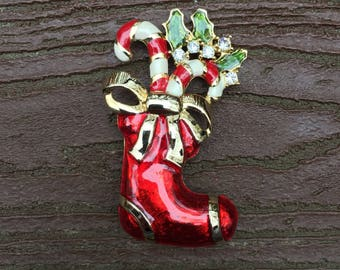 Vintage Jewelry Gorgeous Enamel Christmas Stocking with Candy Canes Pin Brooch