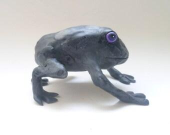 Domino Black Frog Sculpture - Frog Ornament, Handmade Critter, Frog Art Object, Black Animal, Frog Figurine, House warming Gift, Black Toad
