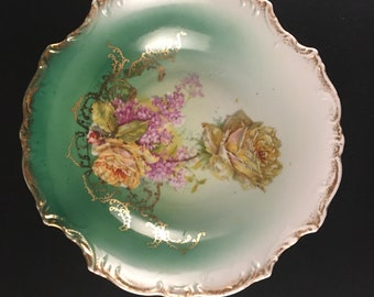 Vintage Three Crown China Serving Bowl Hand-painted Germany Gold Gilded Edge