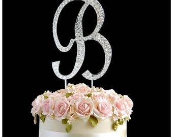 Rhinestone Crystal Letter B Topper Diamante Gems Decoration