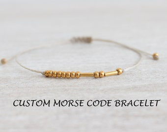 CUSTOM Morse Code Bracelet 24k Gold Plated Personalized Secret Message Bracelet Delicate Dainty Custom Name Bracelet