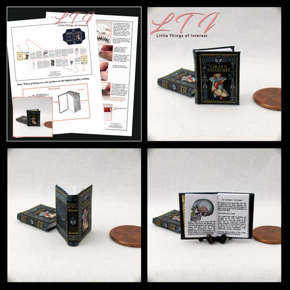 GRAY'S ANATOMY Book PDF and Tutorial Printie Printable Download 1:12 Miniature Dollhouse Readable Illustrated Book Miniature Accessory