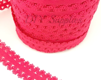 Red Picot edge stretch lace elastic - 7/8 lace elastic by the yard - Lace for headbands - Lace by the yard in 1, 3 or 5 yards