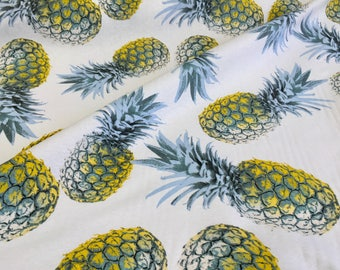 Yellow Pineapple Cotton Fabric for Curtain Upholstery green tropical leaf - 140cm wide