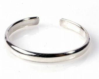 1mm Toe Ring / Simple Thin Band / Sterling or Gold Fill / Adjustable / One Size Fits All