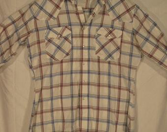 vintage, Levis western wear box plaid pearl snap yoke double pocket cowboy shirt white tab mens L
