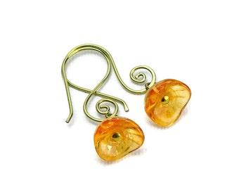 Niobium Earrings Orange Flowers, Swirly Gold Niobium Earrings, Sunshine Orange with Gold Flecked Flower Earrings, Hypoallergenic Jewellery