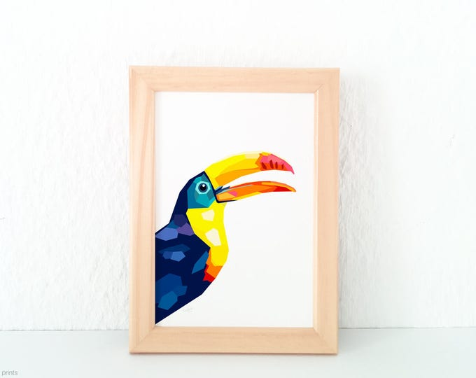 Toucan print, Geometric print, Art print, Unique wall art, Bird art, Jungle theme, Giclee print, Minimalist wall art, Modern interior decor