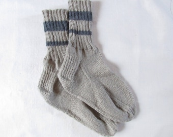 Hand Knitted Tan with Dark Gray Stripes Socks