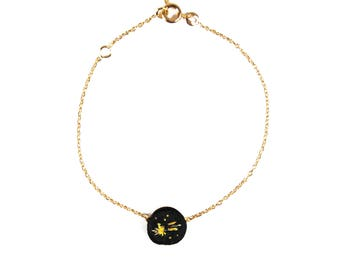Bracelet brodé chaîne Etoile Filante