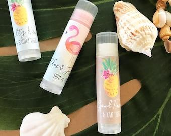 36 Personalized Lip Balms- Tropical Favor - Wedding Favor - Bridal Shower Favor - Engagement Favor - Beach Favor - Anniversary Party Favor