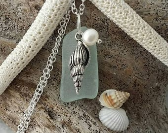 Made in Hawaii, Seafoam sea glass necklace, Sea horse  charm, Fresh water pearl, Sterling silver chain, gift box, Hawaii beach jewelry gift