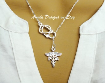 PA Physician Assistant Medical Caduceus Stethoscope Lariat Necklace