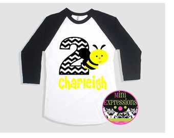 Bee Birthday Raglan shirt Personalized just for you