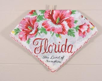 Vintage Florida Hankie / Florida Souvenir Hanky / Florida State Hankie