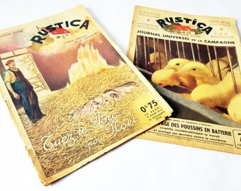 2 French Charming Magazines RUSTICA from 1930's / French decor / French country /French farmhouse/Rustic /Easter