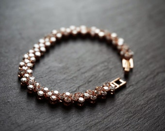 bridal rose gold bracelet, rose gold bracelet, rose gold tennis bracelet, bridal rose gold jewellery, rose gold jewelry, rose gold crystal