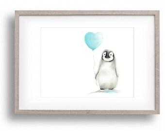 Penguin Nursery, Aqua Nursery Art, Penguin Balloon, Baby Nursery Art, Baby animal, Love Print, Heart, Grey Nursery, Childrens Wall Decor