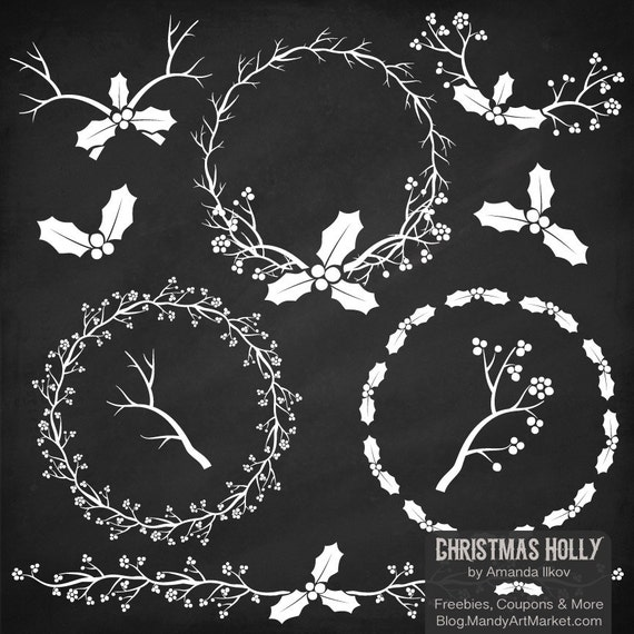 items similar to professional chalkboard holly clipart holly vector set christmas chalkboard. Black Bedroom Furniture Sets. Home Design Ideas